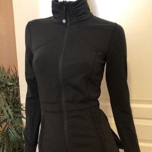 LuluLemon Black Zip Up Back ruffle jacket